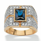Men's 4.06 TCW Emerald-Cut Midnight Blue Sapphire Ring in 18k Gold over Sterling