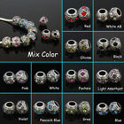 Lots Czech Crystal European Spacer Big Hole Charm Beads Fit Bracelet 8*12mm