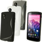 S Line TPU Gel Skin Case Cover Holder for LG Google Nexus 5 D820 + Screen Prot
