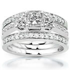Annello by Kobelli 14k White Gold 1 1/3ct TDW Diamond 3-Ring Bridal Set