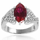Tressa Sterling Silver Garnet and CZ Accent Marquise Bridal-style Ring