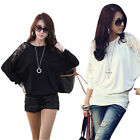 Fashion Sexy Women Casual Lace Loose Batwing Sleeve T-Shirt Blouse Tops S M L XL
