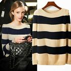Stylish Pullover Striped Long Sleeve Acrylic Womens Sweater Jumper Knitwear Tops