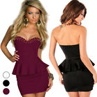 Sexy Women Rivets Punk Strapless Wrapped Chest Tube Peplum Club Party Mini Dress