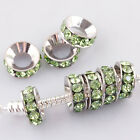 Wholesale Pretty Lt Green Crystal Spacer Big Hole Beads Fit Charms Bracelet