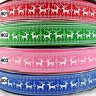 "1 metre red/green/pink/blue deer grosgrain ribbon craft 25mm(1"")  U pick"
