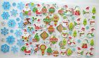 Sheet of Christmas Stickers with Silver Outlines Snowflakes& Men/Baubles//Santa