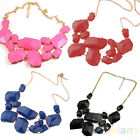 Charms Geometry Pendant Gold Plated Resin Luxury Bib Necklace 4 Colours BD4U