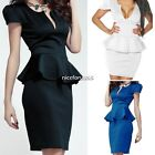 Fashion Womens Cap Sleeves Evening Party Club Flounce Peplum Prom Cocktail Dress