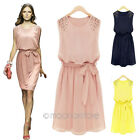 Korean Womens Fashion Chiffon Pleated Bow Sleeveless Shoulder Beads Vest Dress