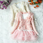 Girls Outfits Jacket Tutu Pearl Flower Top Dress Toddler Party Pageant SZ 3T - 6