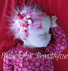 Valentines Day Red Pink Marabou Hair Bow Headband Chevron Infant Girl Clip Bows