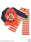 BOYS M&S ORANGE/NAVY SLEEP IN SQUAD PYJAMAS 6-7,7-8,9-10,11-12,13-14,15-16