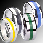 8MM Tungsten Carbide Resin Inlay Men's Wedding Ring SZ 5-12