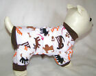 "Brown Woof Dog PJS 4 leg Flannel pet Pajamas apparel sz  TC 6""L, S/M 14""L"