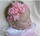 Pink Hair Bow Headband Bowband Infant Girl Toddler Baby Pageant Clip Unique