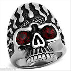 Mens Siam Red Eye Skull Silver Stainless Steel Ring