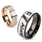 """Stainless Steel Two-Tone """"Always Together"""" Etched 0.07 Ct CZ Band Ring Size 5-13"""