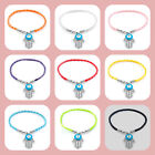 Pugster Fashion Crystal Charm Hamsa Hand Good Luck Evil Eye Rope Bracelet Gifts