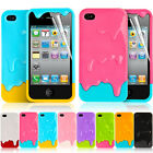 Cute 3D Melt ice-Cream Hard Cover Case For iPhone 4 4S Free Screen Guard