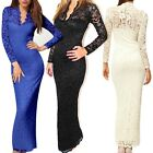 Sexy Women Long Sleeve V Neck Lace Dress Club Evening Cocktail Party Dress HOT