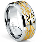 Oliveti Brushed Cobalt Men's Two-tone Gold Plated Scroll Comfort Fit Band (9 mm)