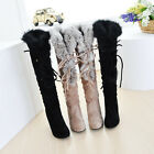 Hot sell Women Sexy Faux Suede Strappy Fur Trim High Heel Winter Knee High Boots