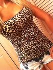 Brown Animal Leopard cami camisole cotton spaghetti tank top S M L XL 1X 2X 3X