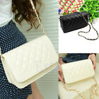 New Black Raw White Women Girls Small Chain Quilted Cross Body Shoulder Bag