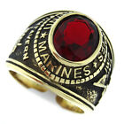 Siam Red Stone Marines US Military Gold EP Stainless Steel Mens Ring
