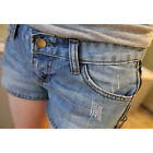 Distress/Rip Denim Shorts Women Frayed Hot Pants Low Rise Waist Jeans Sexy Blue