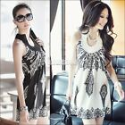 Women Floral Bohemia Classic Vintage Stand Collar Off Shoulder Sexy Mini Dress A