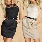 Slim Womens Black Lace Sheer Sleeveless Evening Cocktail Party Mini Dress EA New