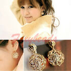 Korean Women Lady Hollow Gold Rose Crystal Dangle Drop Stud Earring Good Gift