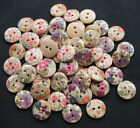 E391 print flower Wood Button sewing/appliques/craft DIY Lots mix U pick15mm
