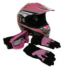 Lunatic Youth MX / ATV Pink Helmet with Graphic, Goggles & Gloves - DOT Approved