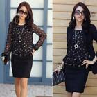 Women's Polka Dot  Blouse Casual Top T-Shirt Lady Chiffon Long Sleeve New! -S