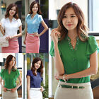 New Womens Lady V-Neck Chiffon Blouse Beading Ruffled Short Sleeve Button Shirt