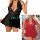 Plus Size Sexy Babydoll Lingerie Dress Robe Chemise Sleepwear Outfit 16 18 20 22
