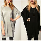Womens Crew Neck Batwing Sleeve OverSize Blouse Tops Casual Loose Long T Shirt