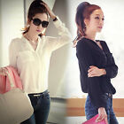 New Women Ladies V-neck Loose Casual Chiffon Long Sleeve OL Shirt Tops Solid