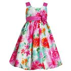 Jessica Ann Girls Blue and Pink Floral Sleeveless Bubble Dress