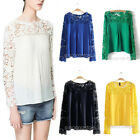Women Ladies Crochet Lace Floral Hollow-Out Chiffon Long Sleeve Top Blouse Shirt