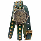 Fashion Around Wrap Mosaic Rivets Bracelet Lady Quartz Wrist Watch