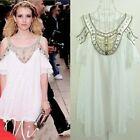 Fashion ladies Jewel&Bead trimmed off the shoulder White Chiffon Wedding Dress S