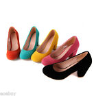 Women's Fashion Suede Fabric Shoes Thick Heels Round Toe Pumps US Sz 2~10.5 D054