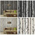FINE DECOR BIRCH TREES 10m FOREST WALLPAPER - CREAM & SILVER + BLACK & SILVER