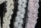 1yd Stunning Vintage Beaded Pearl Floral Rose Lace Trim Ribbon Bridal Wedding
