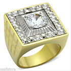 Two Tone Mounted 6.4ct 18kt Gold Plated Stainless Steel Ring