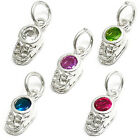 925 Sterling Silver Baby Boot Birthstone CZ Pendant Charm (Choose Any Month)